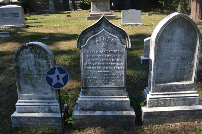 Louisa and Ormsby Mitchel and Thomas Trask gravestones