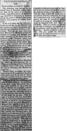 Maumee City Express article about Matilda and James G. Birney