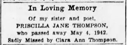 In Loving Memory of Priscilla Jane Thompson