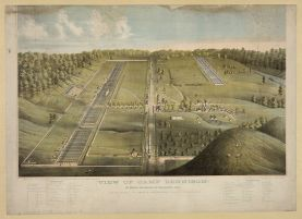 View of Camp Dennison: 16 miles northeast of Cincinnati, Ohio / lithographed by Middleton, Strobridge & Co., Cincinnati, Ohio. c1865.