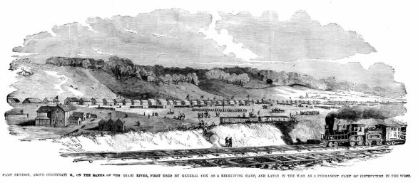 Camp Dennison near Cincinnati, Ohio. Etching by Frank Leslie, 1862. Leslie's Weekly Illustrated.