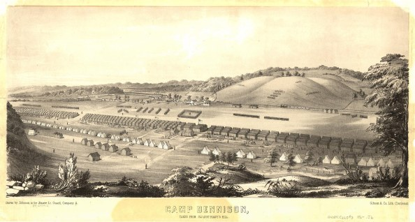 Camp Dennison : taken from Old Aunt Roady's Hill Drawn by Johnson in the Zouave Lt. Guard, Company A. Johnson. Cincinnati : Gibson & Co. Lith., [186-]