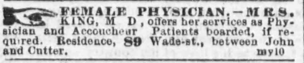Phoebe A King, Female Physician, Cincinnati 1861