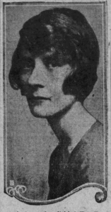Peg Entwistle, with dark blonde hair closely framed around her head in a bob, looks at the camera from the side. She looks sullen.
